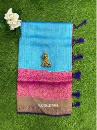 Kubera Silk AllOver Checks Design Coppersulphate Blue And Pink Saree
