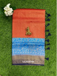 Kubera Silk AllOver Checks Design Red And Coppersulphate And Dark Navy Blue Mix Saree