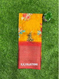 Jute And Lenin Mix Musturd Yellow And Maroon Red Saree