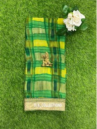 Chiffon Georgette Catalogue Patch Work Dark Green And Light Green And Yellow Mix Saree