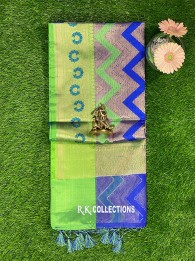 Banarasi Kora Silk RoyalBlue And Green Saree
