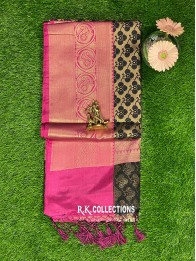Banarasi Kora Silk Black And Pink  Saree