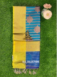 Banarasi Kora Silk PeacockBlue Saree