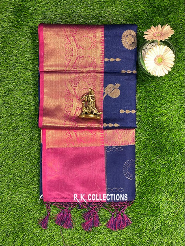 BanarasiPink Kora Silk NavyBlue And SeaGreen Saree