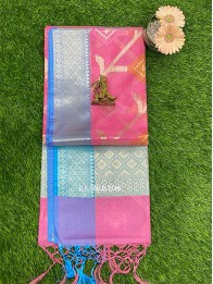 Chanderi Silk Baby Pink And Light Coppersulphate Blue Saree