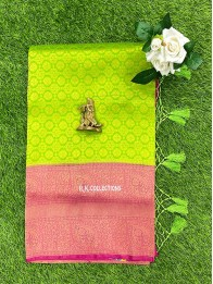 Soft Silk AllOver Light Parrot Green And Bright Pink Saree