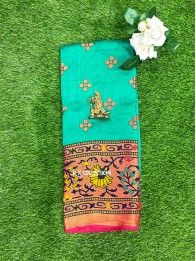 Brasso Weaving Peacock Green And Pink Saree