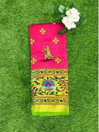 Brasso Weaving Bright Pink And Light Parrot Green Saree
