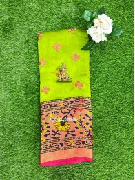 Brasso Weaving Light Parrot Green And Pink Saree