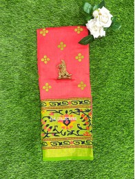Brasso Weaving Peach Pink And Light Parrot Green Saree
