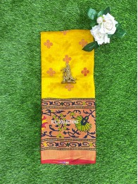 Brasso Weaving Yellow And Red Saree