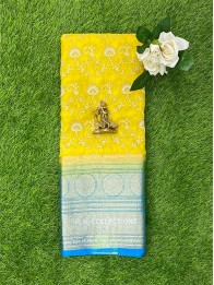 Organdy Thread Work Lemon yellow And Coppersulphate Blue Saree