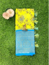 Lenin Mix Yellow And Green Mix And Coppersulphate Blue Saree