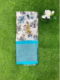Lenin And Jute Mix Floral Half White And Cream Mix And Rama Green Saree