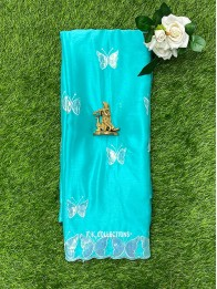 Chiffon Sequence Butterfly SeaGreen And SkyBlue Mix Saree