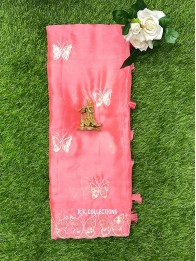 Chiffon Sequence Butterfly PeachPink Saree