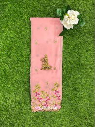 Georgette Embroidary Baby Pink Saree