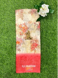 Tussur Silk Floral Cream And Tomato Red Saree