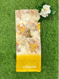 Tussur Silk Floral Cream And Yellow Saree