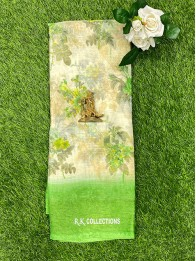 Tussur Silk Floral Cream And Light Parrot Green Saree