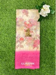 Tussur Silk Floral Cream And Pink Saree