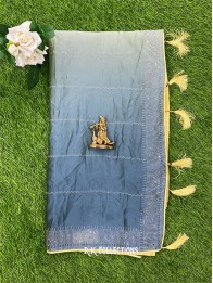 Crepe Galaxy Stone Yellow And Green And Blue Mix Saree