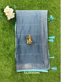 Crepe Galaxy Stone Sky Blue And Blue And Gray Mix Saree