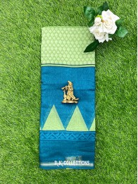 Cotton And Silk Mix Coppersulphate Blue And Pista Green Saree