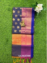 Chanderi All Over Flower Butti Blue And Yellow Saree