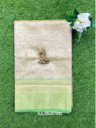 Tissue Flower Silver And Gold And Green Saree