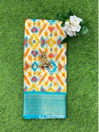 Jute And Lenin Mix Half White And Coppersulphate Blue Saree