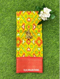 Jute And Lenin Mix Musturd Yellow And Red Saree