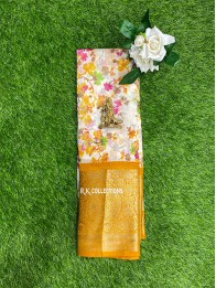 Jute And Lenin Mix Floral Print Cream And Musturd Yellow Saree