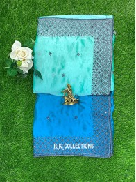 Fancy Thread Work Seagreen And Coppersulphate Blue Saree