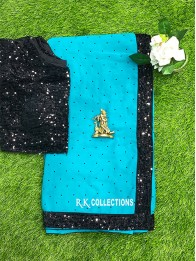 Georgette Sequence Border PeacockGreen Saree