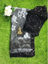 Georgette Floral Sequence Gray And Black Saree