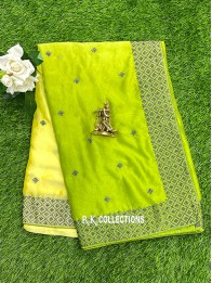 Crepe Silk Tie And Dye LemonYellow And ParrotGreen Saree