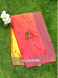 Crepe Silk Tie And Dye Mustard And Pink Saree