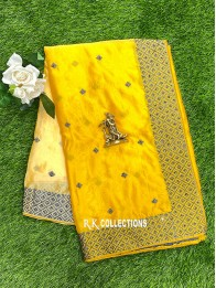Crepe Silk Tie And Dye Cream And Yellow Saree