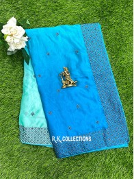 Crepe Silk Tie And Dye SeaGreen And Blue Saree