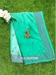 Crepe Silk Tie And Dye SeaGreen And Dark Green Saree