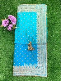 Crepe Silk Temple Design SeaGreen And SkyBlue Saree