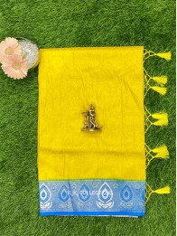 Soft Silk AllOver LemonYellow And CopperSulphateBlue Saree