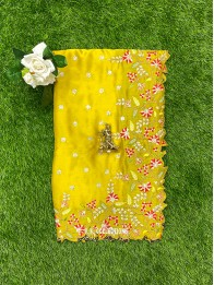 Crepe Silk CutWork Yellow And Pink Saree