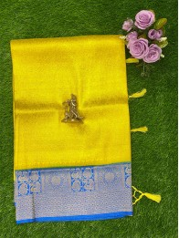 Banarasi Soft Silk Lemon Yellow Saree