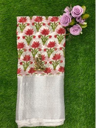 Lenin Floral Prints Red And White Saree