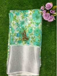 Lenin Floral Seagreen And  White Saree