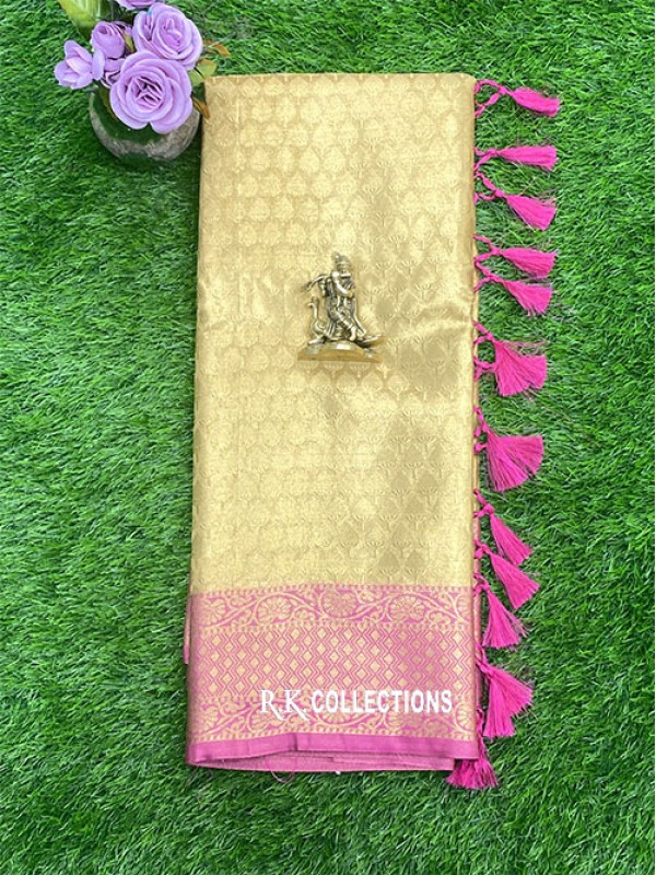 Tissue Gold And Pink Saree