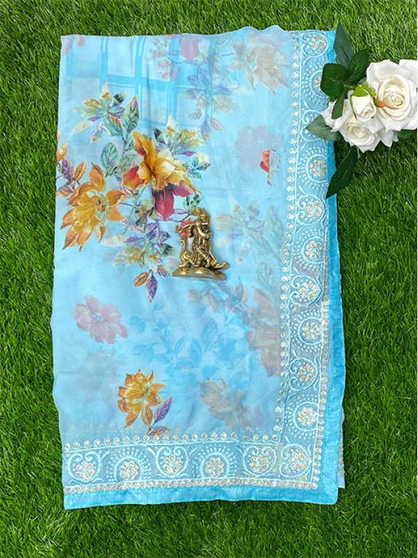 Chiffon Georgette Floral Light SkyBlue Saree