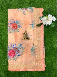 Chiffon Georgette Floral Light Orange Saree
